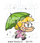 Vector of a Happy Cartoon Girl Quickly Walking Under an Umbrella in the Rain by Toonaday