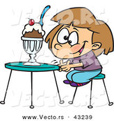 Vector of a Happy Cartoon Girl Sitting Infront of a Ice Cream Sundae by Ron Leishman