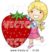 Vector of a Happy Cartoon Girl Standing Beside a Big Strawberry by BNP Design Studio
