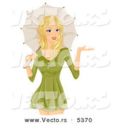 Vector of a Happy Cartoon Girl Standing with a Parasol over Her Shoulder by BNP Design Studio