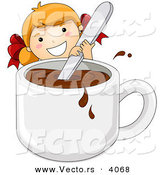 Vector of a Happy Cartoon Girl Stirring Giant Cup of Hot Chocolate by BNP Design Studio