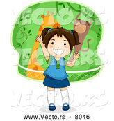 Vector of a Happy Cartoon Girl Telling a Zoo Themed Story by BNP Design Studio
