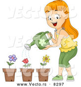 Vector of a Happy Cartoon Girl Watering 3 Potted Flowers by BNP Design Studio