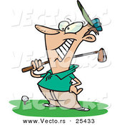 Vector of a Happy Cartoon Golfer Standing Beside a Golf Ball on a Tee While Holding a Club by Toonaday