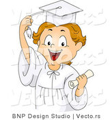 Vector of a Happy Cartoon Graduate Boy Grabing His Tassel by BNP Design Studio