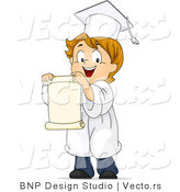 Vector of a Happy Cartoon Graduate Boy Holding a Scroll by BNP Design Studio