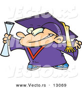 Vector of a Happy Cartoon Graduate Boy Holding Certificate by Toonaday