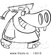 Vector of a Happy Cartoon Graduate Hippo Walking Forward - Coloring Page Outline Version by Toonaday