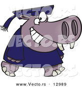 Vector of a Happy Cartoon Graduate Hippo Walking Forward with Big Smile on His Face by Toonaday