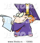 Vector of a Happy Cartoon Graduate Kid Reading His Certificate by Toonaday