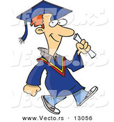 Vector of a Happy Cartoon Graduate Man Walking by Toonaday