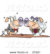 Vector of a Happy Cartoon Groom and Bride Pigs Facing Each Other While Standing in a Pool of Dirty Mud Water by Toonaday