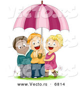 Vector of a Happy Cartoon Group of Diverse Kids Sharing an Umbrella by BNP Design Studio