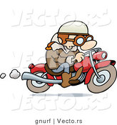 Vector of a Happy Cartoon Guy Riding His Motorcycle by Gnurf