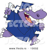Vector of a Happy Cartoon Hippo Graduate Running by Toonaday