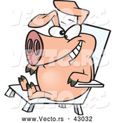 Vector of a Happy Cartoon Hog Relaxing in a Chair - Pig Day by Toonaday