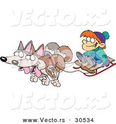 Vector of a Happy Cartoon Huskies Pulling Boy on a Snow Sled by Toonaday