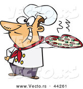 Vector of a Happy Cartoon Italian Chef Holding a Pizza Pie by Toonaday