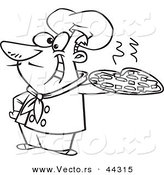 Vector of a Happy Cartoon Italian Chef Holding a Pizza Pie - Coloring Page Outline by Toonaday