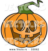 Vector of a Happy Cartoon Jackolantern Pumpkin Carving on Halloween by Toonaday