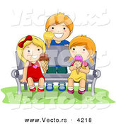 Vector of a Happy Cartoon Kids Eating Ice Cream on a Bench by BNP Design Studio