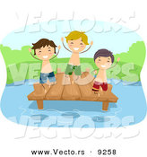 Vector of a Happy Cartoon Kids Playing on a Lake Dock by BNP Design Studio