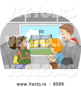 Vector of a Happy Cartoon Kids Viewing a School from a Bus Window by BNP Design Studio