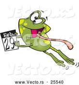 Vector of a Happy Cartoon Leap Day Frog Leaping with a February 29th Calendar Page - National Leap Day by Ron Leishman