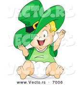 Vector of a Happy Cartoon Leprechaun Baby Boy Wearing a Big Green Hat by BNP Design Studio