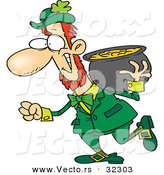 Vector of a Happy Cartoon Leprechaun Carrying Heavy Pot of Gold over His Shoulder by Ron Leishman