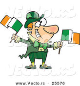 Vector of a Happy Cartoon Leprechaun Man Waving Two Irish Flags by Ron Leishman