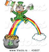 Vector of a Happy Cartoon Leprechaun Riding a Rainbow down to a Lucky Pot of Gold with a Beer and Irish Flag by LaffToon
