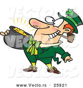 Vector of a Happy Cartoon Leprechaun Smoking a Pipe While Carrying Pot Full of Gold by Ron Leishman