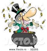 Vector of a Happy Cartoon Leprechaun Tossing Coins into the Air from His Pot of Gold by Toonaday