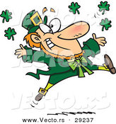 Vector of a Happy Cartoon Leprechaun Tossing Lucky Clovers Everywhere While Jumping for Joy by Toonaday