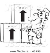 Vector of a Happy Cartoon Male Mover Presenting Boxes - Coloring Page Outline by Ron Leishman