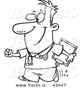 Vector of a Happy Cartoon Male Nurse Carrying a Clipboard - Coloring Page Outline by Toonaday