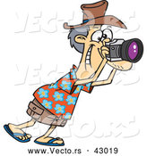 Vector of a Happy Cartoon Male Tourist Taking Photographs with His Camera by Toonaday