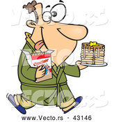 Vector of a Happy Cartoon Man Carrying a Stack of Pancakes and Cracker Jacks While Wearing a Robe by Toonaday