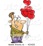 Vector of a Happy Cartoon Man Holding out Valentine Love Heart Balloons by Toonaday