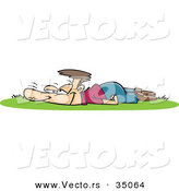 Vector of a Happy Cartoon Man Laying on Fresh Green Grass by Toonaday