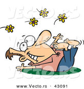 Vector of a Happy Cartoon Man Laying on Grass While Tossing Yellow Flowers into the Air by Ron Leishman