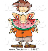 Vector of a Happy Cartoon Man Pigging out on Watermelon by Toonaday