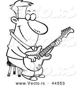 Vector of a Happy Cartoon Man Playing a Guitar on a Stool - Coloring Page Outline by Toonaday