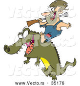 Vector of a Happy Cartoon Man Riding an Alligator by Toonaday