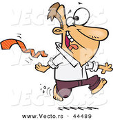 Vector of a Happy Cartoon Man Ripping His Business Tie off While Running Bare Foot by Toonaday