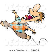 Vector of a Happy Cartoon Man Running Barefoot While Jumping into the Air by Toonaday