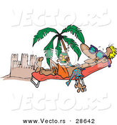 Vector of a Happy Cartoon Man Tanning Beside a Beach Sand Castle with Palm Tree by Toonaday