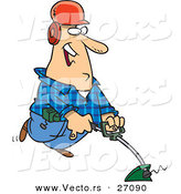 Vector of a Happy Cartoon Man Using a String Trimmer by Toonaday