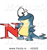 Vector of a Happy Cartoon Newt Leaning Against the Alphabet Letter N by Toonaday